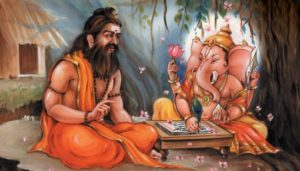 Lord Ganesha writing the Vedas